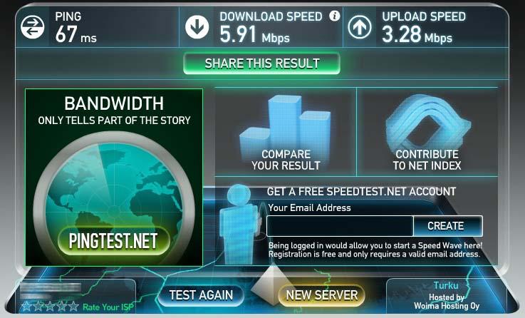 Riittävä netin nopeus